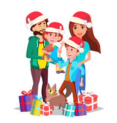christmas family mom dad children vector image