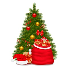 Christmas tree and santa bag with gifts vector