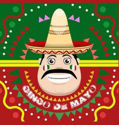cinco de mayo poster with a mexican man vector image