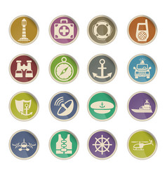 Coastguard icon set vector
