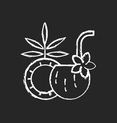 coconut cocktail chalk white icon on black vector image
