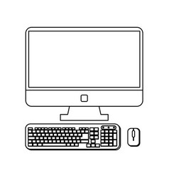 computer with keyboard and mouse in black and vector image