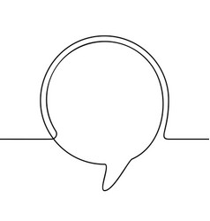 continuous line drawing round speech bubble vector image