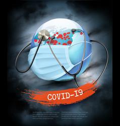 Coranavirus pandemic background earth globe vector