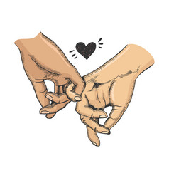 couple in love hold hands sketch vector image