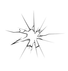 cracked broken glass hole isolated vector image