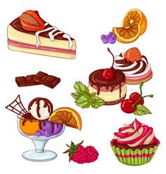 Desserts set color vector