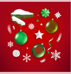 different christmas elements clipart on red vector image