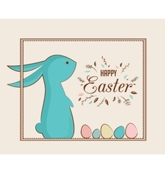 Easter bunny and Easter eggs greeting card vector image