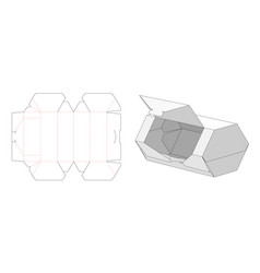 easy openable hexagon shaped packaging box die vector image