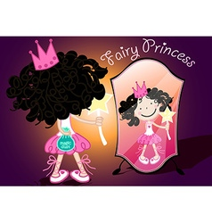 Fairy princess holding a bag of magic dust vector
