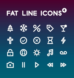Fat Line Icons set 4 vector image