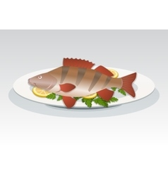Fish icon Perch on white plate with lemon and vector