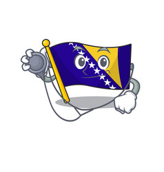 Flag bosnia in a doctor dressed with tools vector
