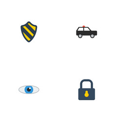 flat icons armored car vision shield and other vector image