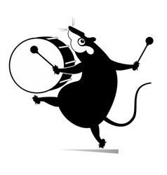 Funny rat or mouse a drummer vector