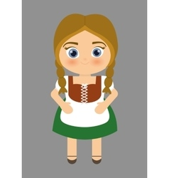 Girl cartoon costume traditional icon Germany vector image