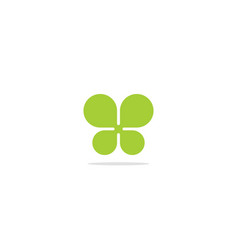 Green leaf abstract eco logo vector