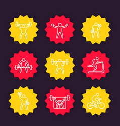 gym fitness exercises line icons training vector image