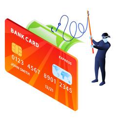 hacker phishing money icon isometric style vector image