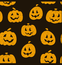 halloween seamless pattern design with pumpkins on vector image