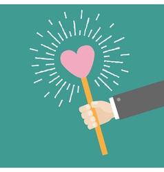 Hand businessman holding heart shining flat vector image