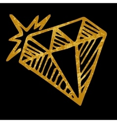 Hand drawn diamond isolated on black background vector