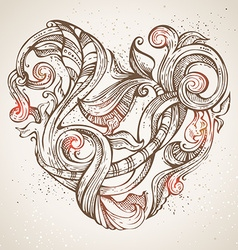 Hand-drawn vintage heart vector