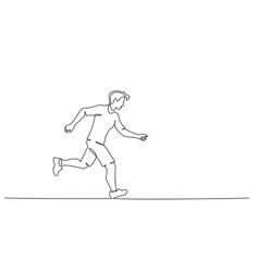 happy running man continuous one line drawing vector image