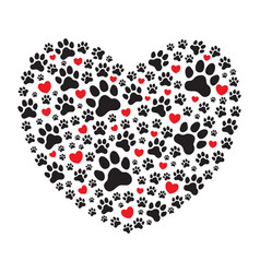 heart filled with animals dogs paw prints vector image