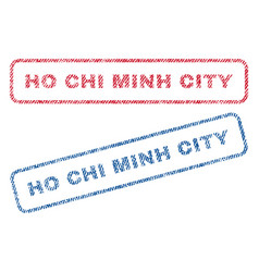 Ho chi minh city textile stamps vector