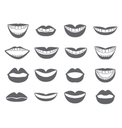 Lips icon Set of silhouettes lips vector