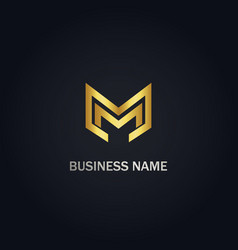 m initial company logo vector image