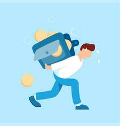man carrying a heavy wallet with coins vector image