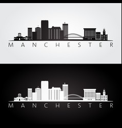manchester usa skyline and landmarks silhouette vector image