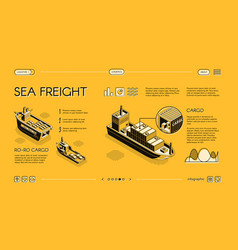 Maritime cargo transport service website vector