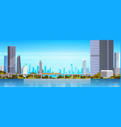 Modern city panorama with skyscrapers and subway vector