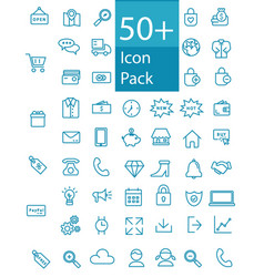 more than fifty line web icon pack vector image