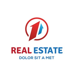 Number one 1 real estate sign logo icon design vector image