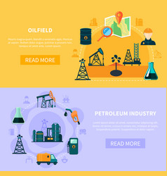 Oil field banners collection vector