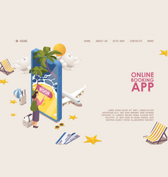online mobile app banner or landing page template vector image