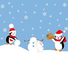 Penguins build a snowman vector