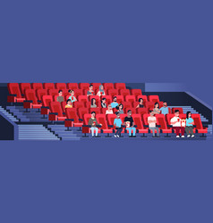 People group watching movie sitting in cinema with vector