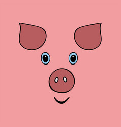 Pig cute funny cartoon head vector