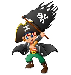 Pirate holding pirate flag vector
