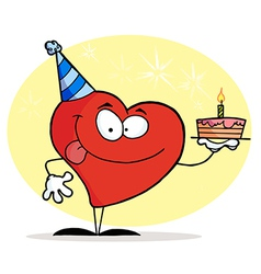 Red Heart Wearing A Hat And Holding A Cake vector image