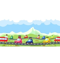 Rural road with a line of tourist traffic vector