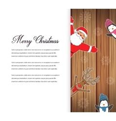 Santa claus with reindeer and penguins cartoon vector