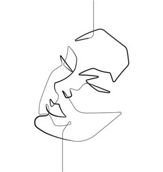 Serene female face one single continuous line art vector