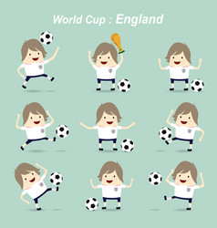 set character football actions player england vector image
